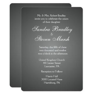 Elegant Dark Silver Wedding Invitations