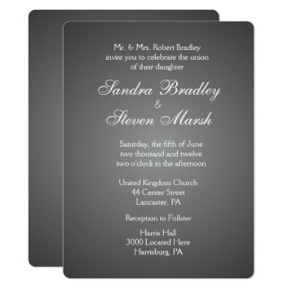 Elegant Dark Silver Wedding Invitations