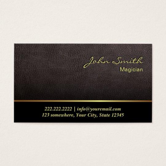 Elegant Dark Tan Leather Magician Business Card