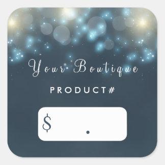 Elegant Dark Teal Bokeh Sparkle Boutique Price Tag Square Sticker