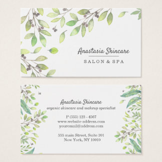 Elegant Day Spa and Salon Green Foliage watercolor Business Card