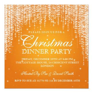 Elegant Dazzle Christmas Holiday Party Orange Card