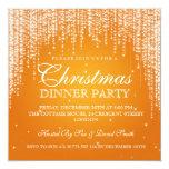 Elegant Dazzle Christmas Holiday Party Orange 13 Cm X 13 Cm Square Invitation Card