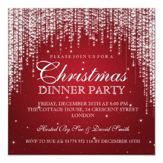 Elegant Dazzle Christmas Holiday Party Red Card