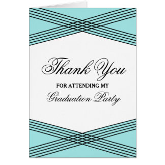 Elegant Deco Aqua Graduation Thank You Greeting Card