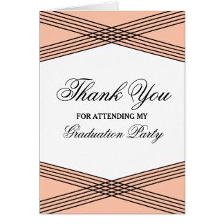 Elegant Deco Coral Graduation Thank You Greeting Card