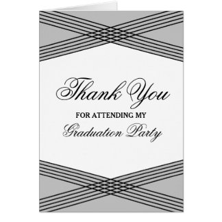 Elegant Deco Gray Graduation Thank You Greeting Card