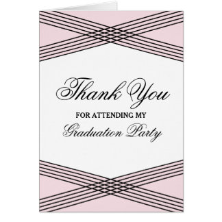 Elegant Deco Pink Graduation Thank You Greeting Card