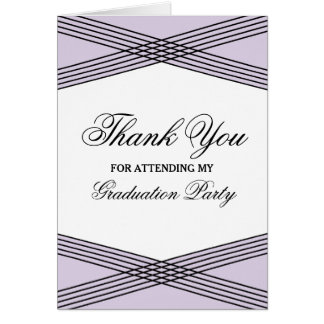 Elegant Deco Purple Graduation Thank You Greeting Card