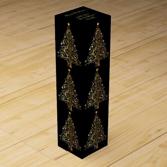 Elegant Decorative Black Gold Merry Christmas Tree Wine