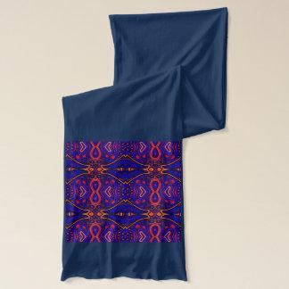 Elegant deep blue purple tribal long jersey scarf