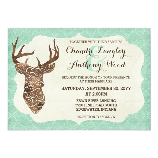 Elegant Deer Antlers Rustic Country Wedding Card