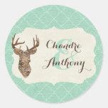 Elegant Deer Antlers Rustic Country Wedding Custom Round Sticker