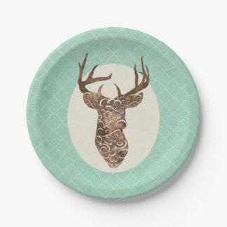 Elegant Deer Antlers Rustic Country Wedding Paper Plate