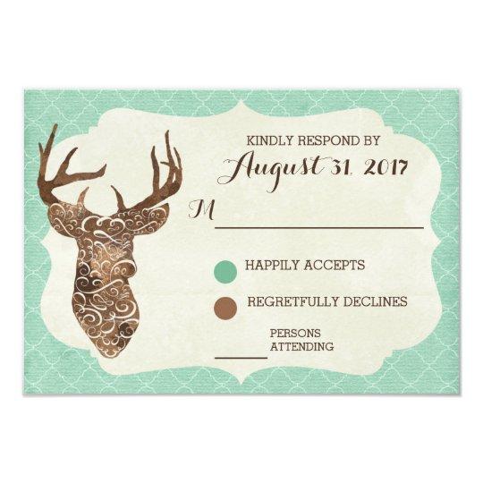 Elegant Deer Antlers Rustic Country Wedding RSVP Card