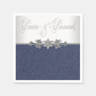 Elegant Denim and Diamonds Paper Napkin