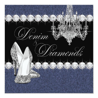 Elegant Denim and Diamonds Party Card