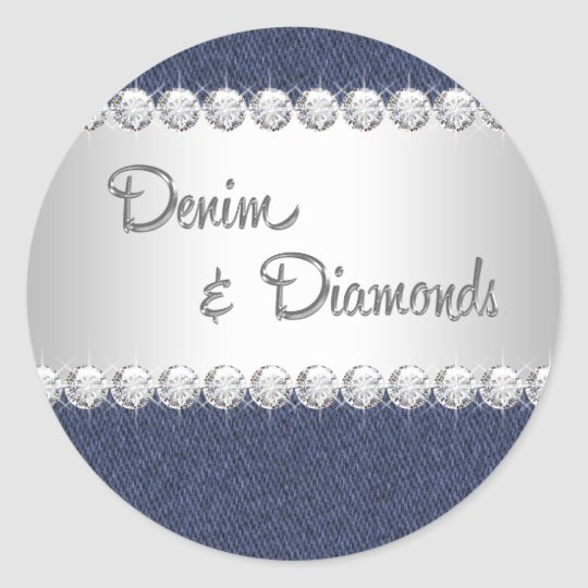 Elegant Denim and Diamonds Stickers