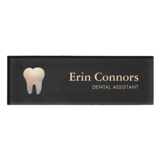 Elegant Dental Assistant Dentist Tooth Logo Name Tag