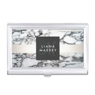 Elegant Designer Black and White Marble Monogram Business Card Holder