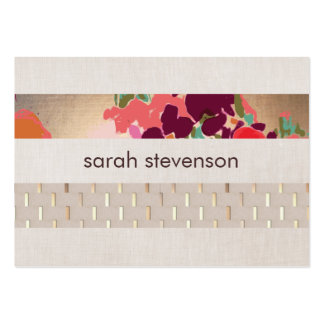 Elegant Designer Floral Chic Gold & Linen Striped Pack Of Chubby Business Cards