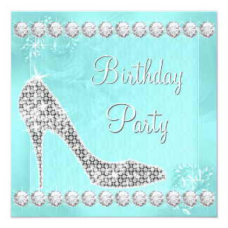 Elegant Diamond and Teal Blue Birthday Party 13 Cm X 13 Cm Square Invitation Card