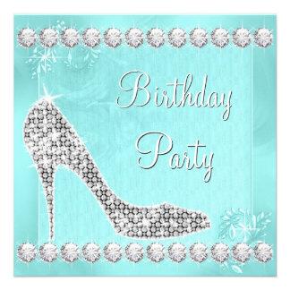 Elegant Diamond and Teal Blue Birthday Party Custom Invites