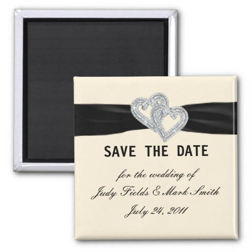 Elegant Diamond Black Ribbon Save The Date Magnet