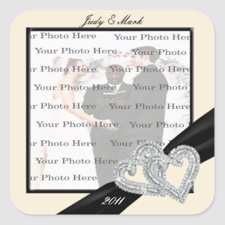 Elegant Diamond Black Ribbon Square Stickers