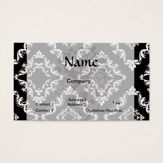 elegant diamond damask black white business card