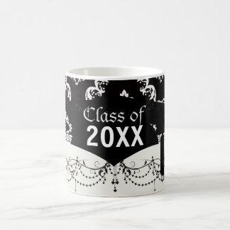 elegant diamond damask black white graduation basic white mug