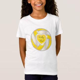 Elegant Diamond Heart Bright Yellow Volleyball T-Shirt