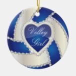 Elegant Diamond Heart Dark Blue Volleyball