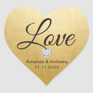Elegant Diamond Heart LOVE Gold Foil Wedding Seals