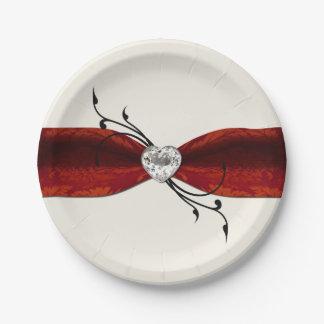 Elegant Diamond Heart Paper Plate 7 Inch Paper Plate