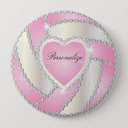 Elegant Diamond Heart Pink Volleyball 10 Cm Round Badge
