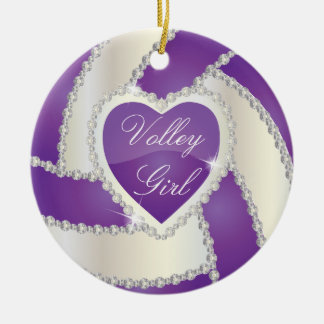 Elegant Diamond Heart Purple Volleyball Christmas Ornament