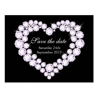 Elegant diamond heart save the date black & white postcard
