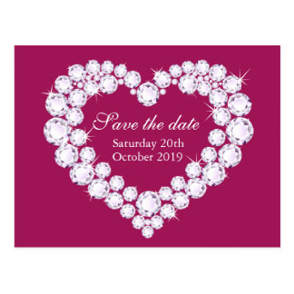 Elegant diamond heart save the date purple pink postcard