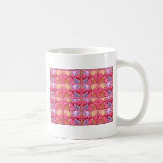 Elegant Diamond Pattern Rose Pink Smile Happy Show Basic White Mug