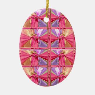 Elegant Diamond Pattern Rose Pink Smile Happy Show Christmas Ornament