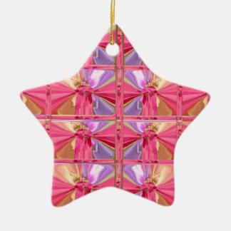 Elegant Diamond Pattern Rose Pink Smile Happy star Ceramic Star Decoration