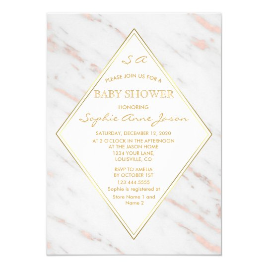 Elegant Diamond Rose Gold Marble Baby Shower Card