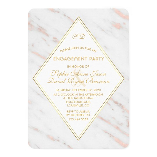 Elegant Diamond Rose Gold Marble Engagement Party Card