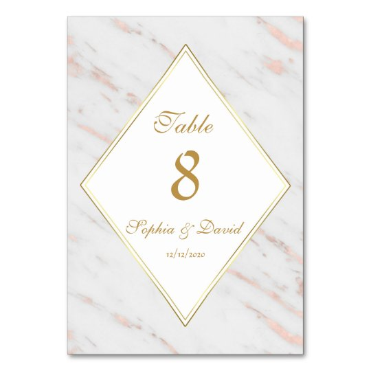 Elegant Diamond Rose Gold Marble Wedding Card