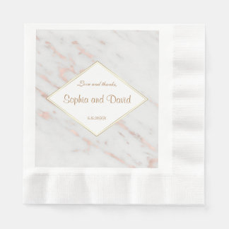 Elegant Diamond Rose Gold Marble Wedding Disposable Serviette