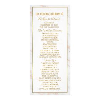 Elegant Diamond Rose Gold Marble  Wedding Program Rack Card