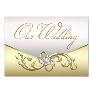 Elegant Diamond Silver and Gold Wedding Invitation