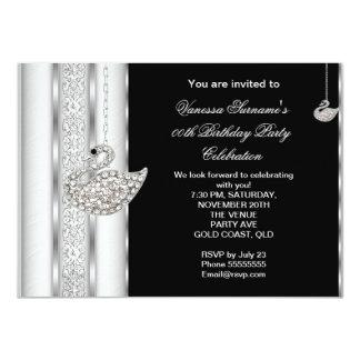 "Elegant Diamond Swan White Silver Black Birthday 4.5"" X 6.25"" Invitation Card"