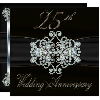 Elegant Diamonds 25th Silver Wedding Anniversary Card